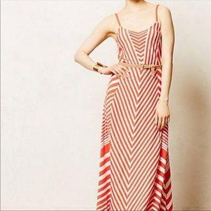 Anthropologie Lilka Chevron Orange Maxi Dress
